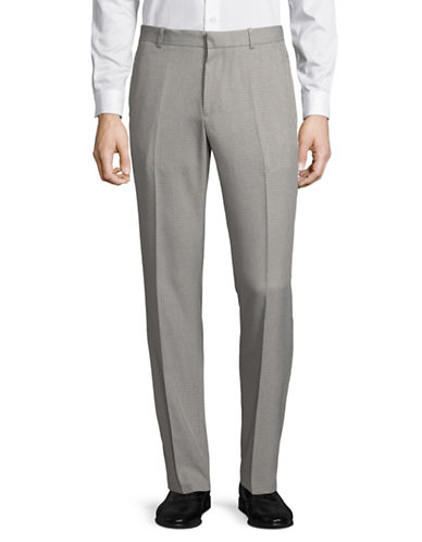 Perry Ellis Portfolio Windowpane Trousers-GREY-36X32