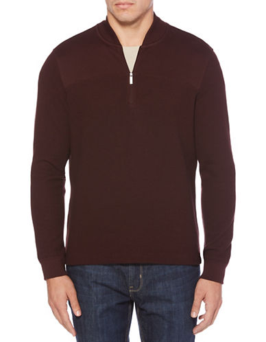 Perry Ellis Ribbed Henley-RED-X-Large
