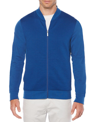 Perry Ellis Textured Jacquard Bomber Jacket-BLUE-Large