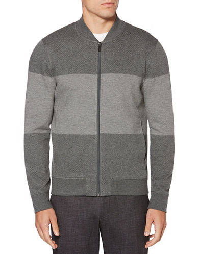Perry Ellis Colorblock Jacquard Bomber-GREY-3X Tall