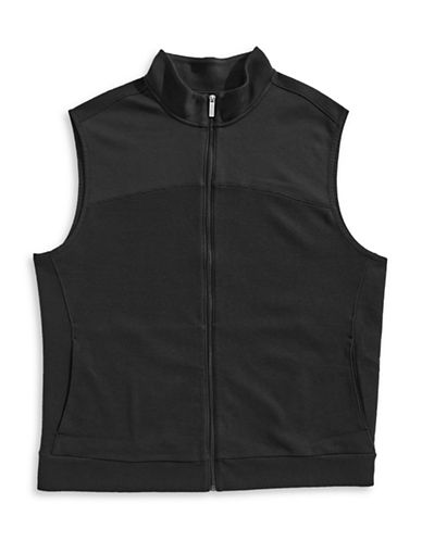 Perry Ellis Cotton-Blend Zip Vest-BLACK-2X Tall
