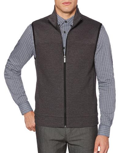 Perry Ellis Cotton-Blend Zip Vest-CHARCOAL-3X Tall