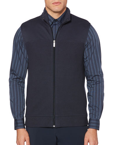 Perry Ellis Cotton-Blend Zip Vest-BLUE-2X Big