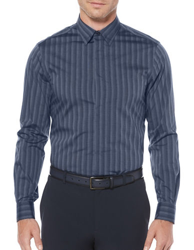 Perry Ellis Striped Cotton-Blend Sports Shirt-BLUE-Large