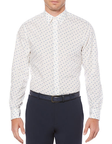Perry Ellis Scattered Paisley Sport Shirt-WHITE-Large