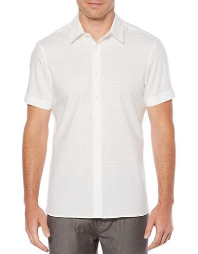 Perry Ellis Tonal Dobby Cotton Sport Shirt-WHITE-Medium