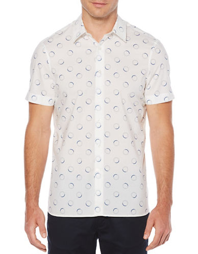 Perry Ellis Half Circles Cotton Sport Shirt-WHITE-Large