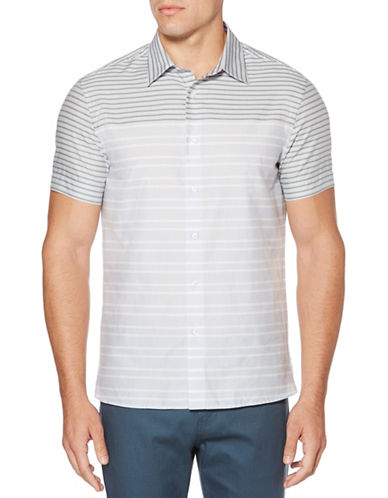 Perry Ellis Colourblock Stripe Sport Shirt-BLUE-Large