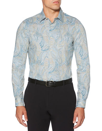 Perry Ellis Brushed Speckle Paisley Sport Shirt-BLUE-Small
