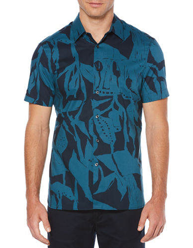 Perry Ellis Muted Oversize Floral Sport Shirt-BLUE-Small