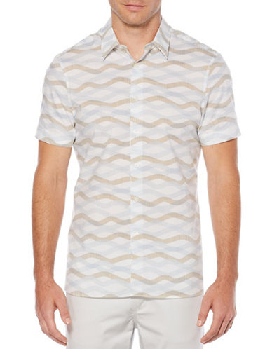 Perry Ellis Horizontal Wave Sport Shirt-WHITE-Small