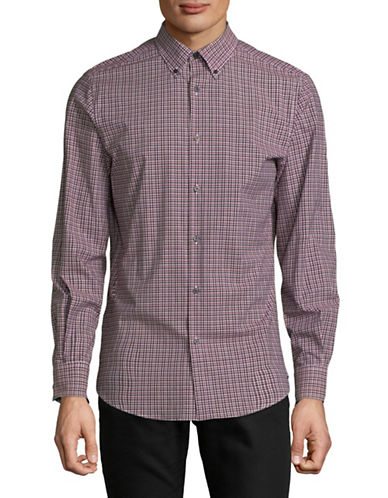 Perry Ellis Layered Plaid Sport Shirt-RED-XX-Large