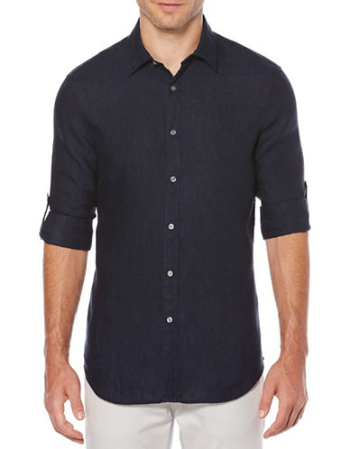 Perry Ellis Spread Collar Linen Sport Shirt-NAVY-Large