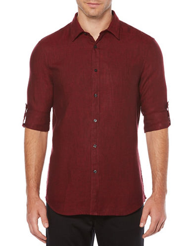 Perry Ellis Spread Collar Linen Sport Shirt-RED-XX-Large