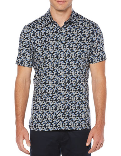 Perry Ellis Abstract Floral Sport Shirt-BLUE-Medium