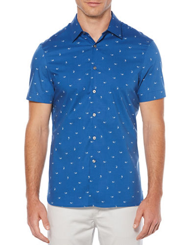 Perry Ellis Scattered Paisley Print Sport Shirt-BLUE-Large