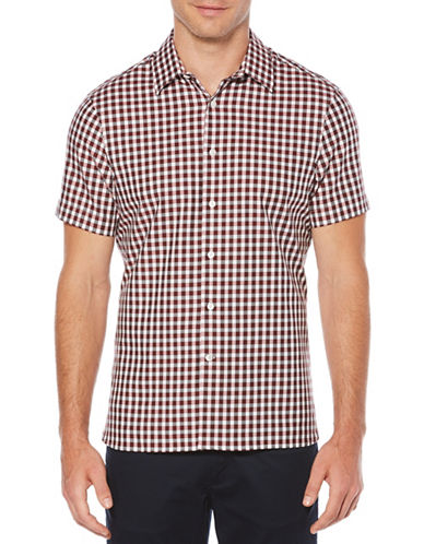 Perry Ellis Herringbone Check Sport Shirt-RED-Large