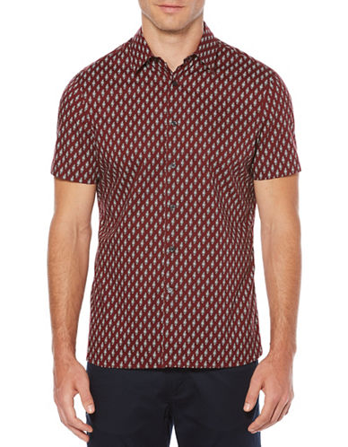Perry Ellis Bouquet Print Cotton Sport Shirt-RED-X-Large