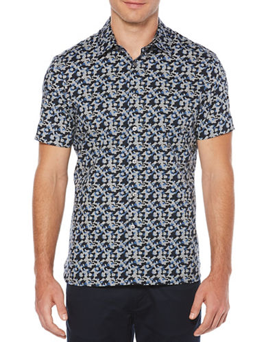 Perry Ellis Abstract Floral Sport Shirt-BLUE-3X Big