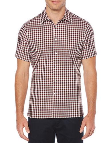 Perry Ellis Herringbone Check Sport Shirt-RED-3X Tall