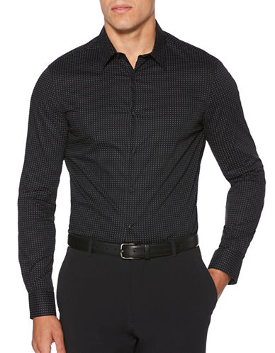 Perry Ellis Dot-Print Sportshirt-BLACK-4X Big