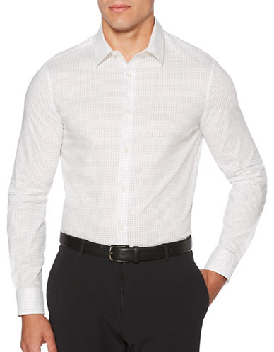 Perry Ellis Dot-Print Sportshirt-WHITE-3X Big