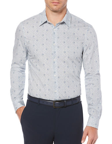 Perry Ellis Big and Tall Printed Woven Sport Shirt-WHITE-X-Large