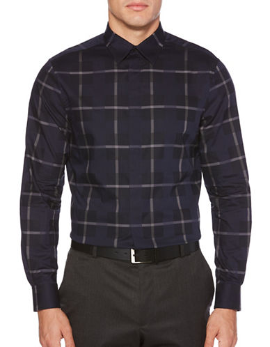 Perry Ellis Plaid Cotton Sportshirt-BLUE-Large