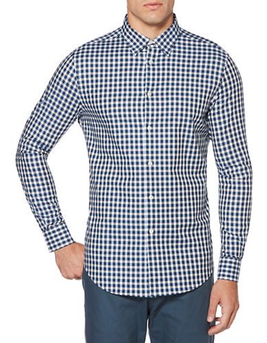 Perry Ellis Herringbone Check Sport Shirt-WHITE-Large