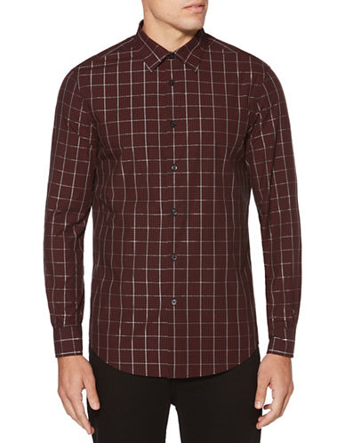 Perry Ellis Layered Check Sport Shirt-RED-3X Big