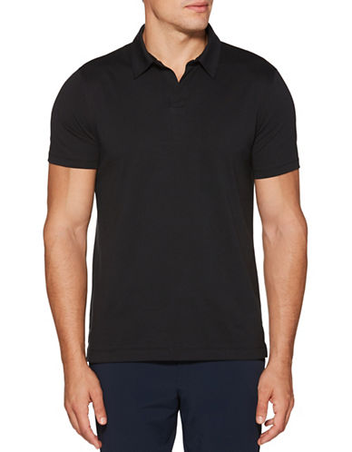 Perry Ellis Solid Open-Collar Polo-GREY-Small