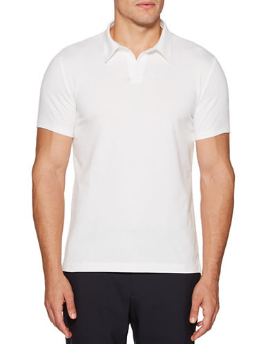 Perry Ellis Solid Open-Collar Polo-WHITE-Large