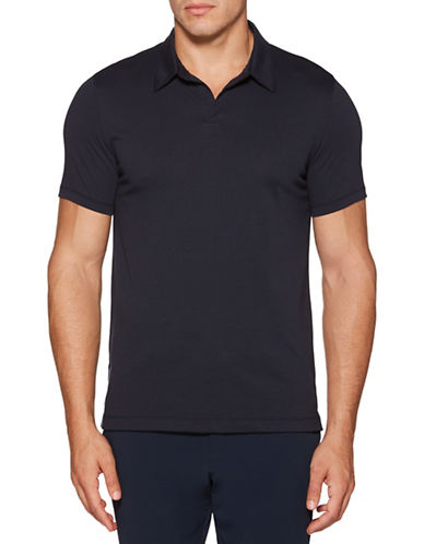 Perry Ellis Solid Open-Collar Polo-NAVY-Medium