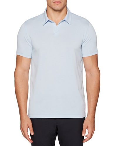 Perry Ellis Solid Open-Collar Polo-BLUE-XX-Large