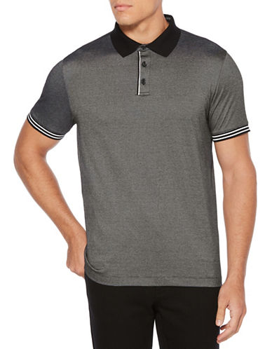 Perry Ellis End-on-End Striped Polo-BLACK-X-Large