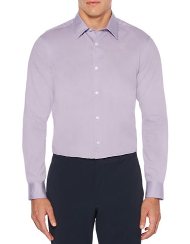 Perry Ellis Twill Long-Sleeve Cotton Sport Shirt-PURPLE-XX-Large