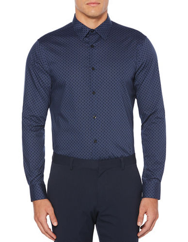 Perry Ellis Broken Octagon Striped Sport Shirt-BLUE-Small
