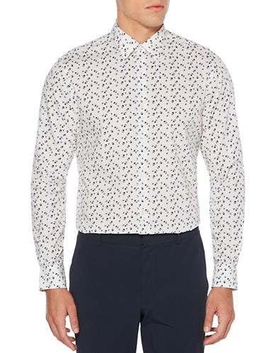 Perry Ellis Confetti-Print Sport Shirt-WHITE-Large