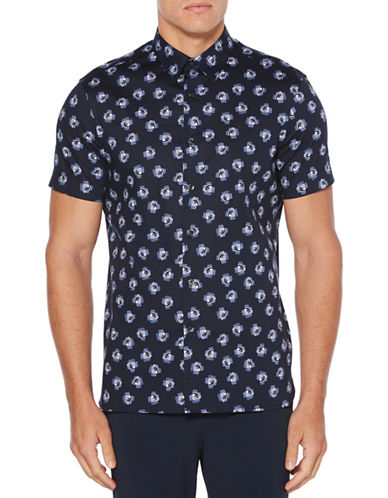 Perry Ellis Rose Jumble Short-Sleeve Sport Shirt-BLUE-Medium