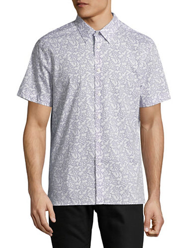 Perry Ellis Floral-Print Short-Sleeve Sport Shirt-BRIGHT WHITE-Large
