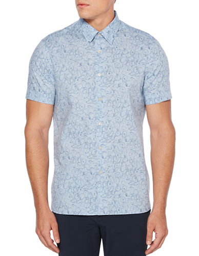 Perry Ellis Floral Printed Sport Shirt-BLUE-Large