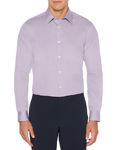 Perry Ellis Long-Sleeve Twill Sport Shirt-PURPLE-4X Tall