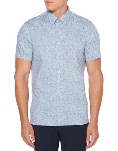 Perry Ellis Fawna Slub Sport Shirt-BLUE-Large