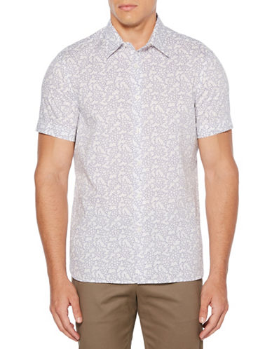 Perry Ellis Short-Sleeve Floral Sport Shirt-BRIGHT WHITE-Large