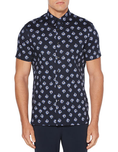 Perry Ellis Rose Jumble Sport Shirt-DARK SAPPHIRE-Large