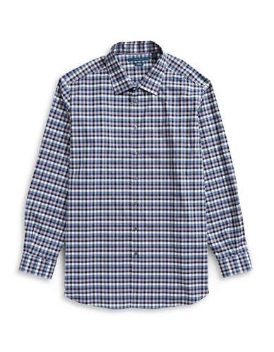 Perry Ellis Checkered Sport Shirt-BLUE-Large