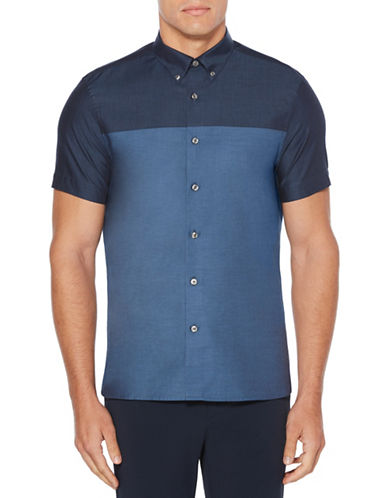 Perry Ellis Colourblock Cotton Sport Shirt-BLUE-X-Large