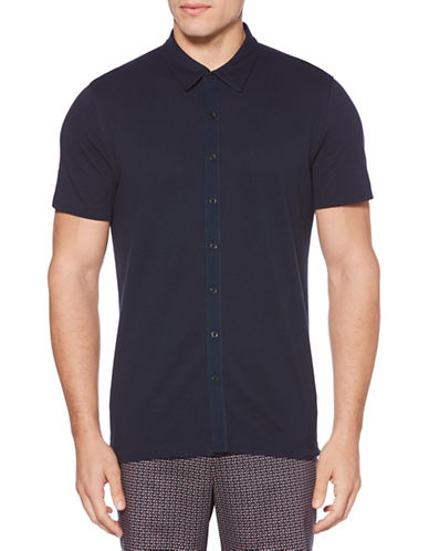 Perry Ellis Jacquard Sport Shirt-BLUE-X-Large