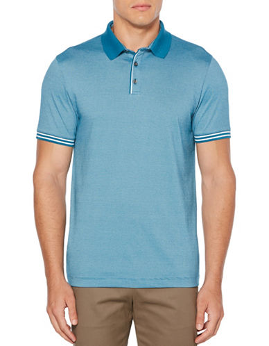 Perry Ellis Ribbed Jacquard Polo-GREEN-XX-Large