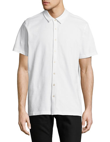 Perry Ellis Jacquard Sport Shirt-BRIGHT WHITE-Large